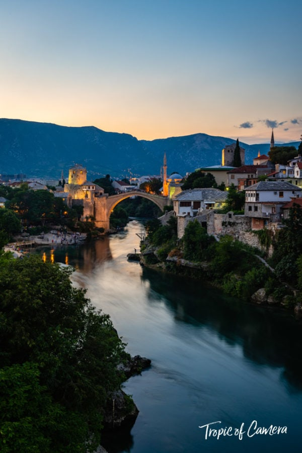 Old bridge at sunset in Mostar, Bosnia and Herzegovina