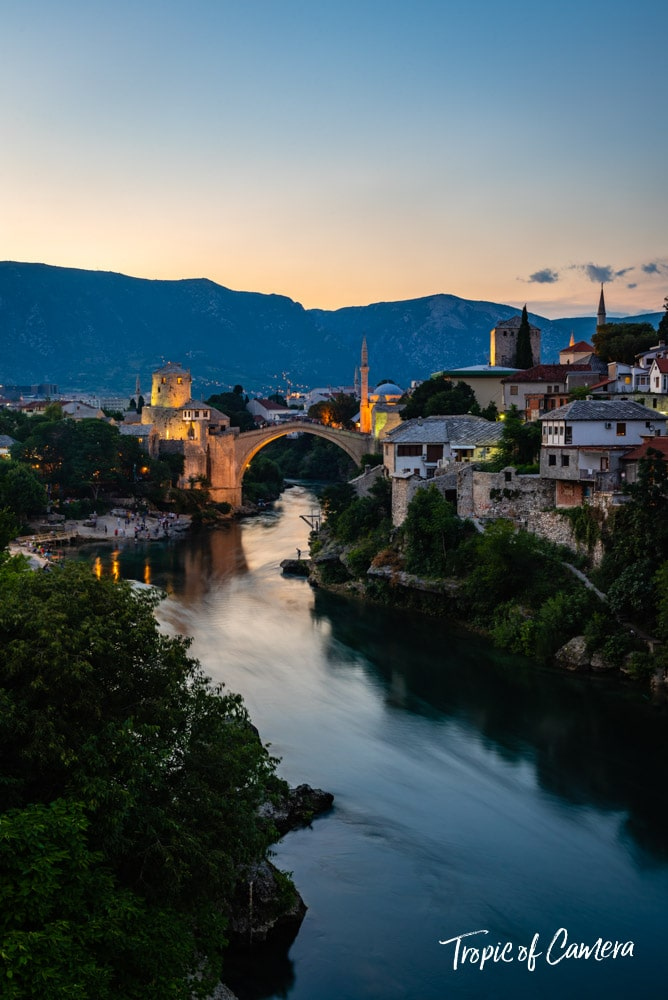Old bridge at sunset in Mostar, Bosnia and Herzegovina