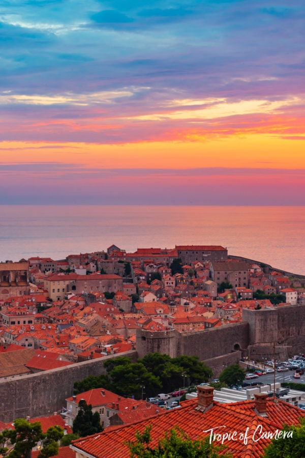 Sunset over Dubrovnik, Croatia