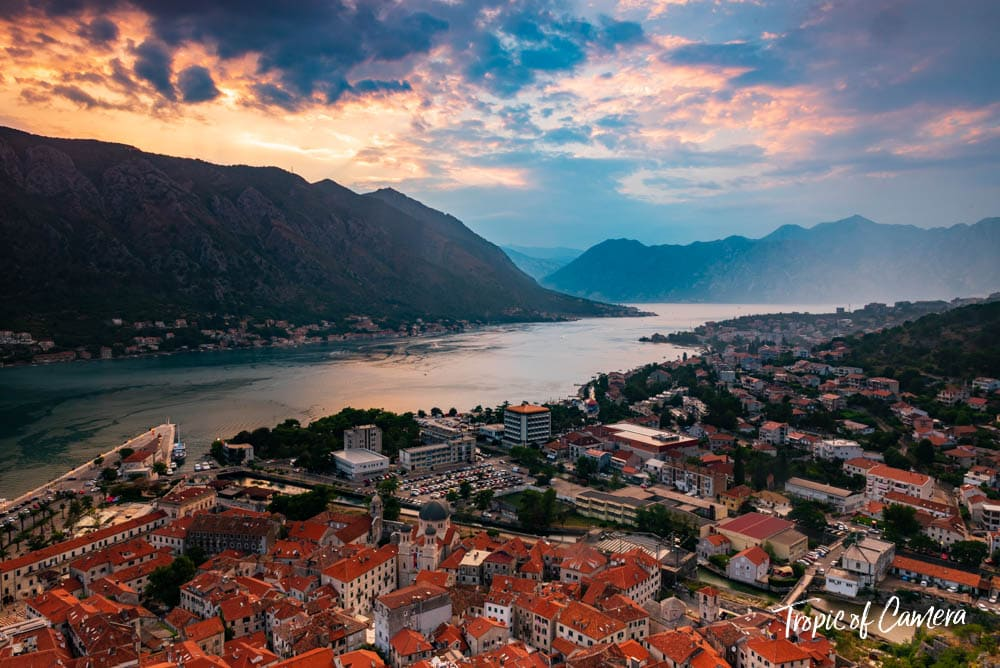 Sunset over the Bay of Kotor, Montenegro