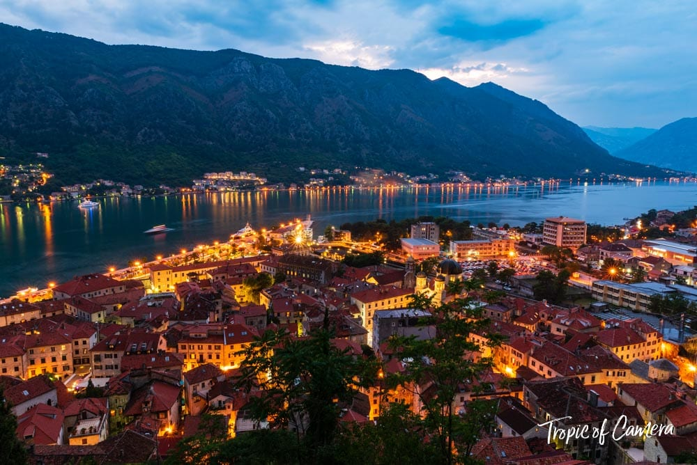 Bay of Kotor at night, Montenegro