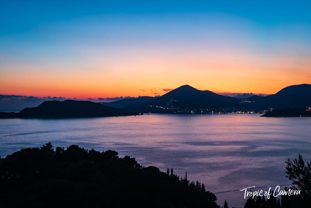 View of Budva at sunset in Montenegro