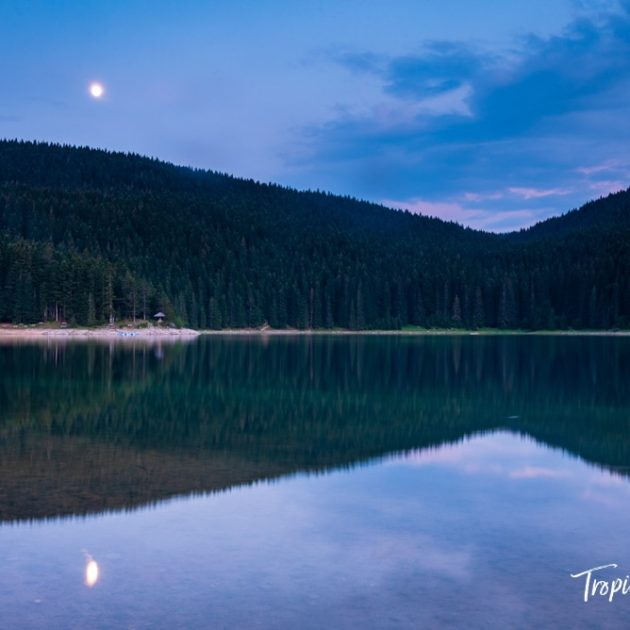 Moonrise over the Black Lake in Durmitor National Park, Montenegro