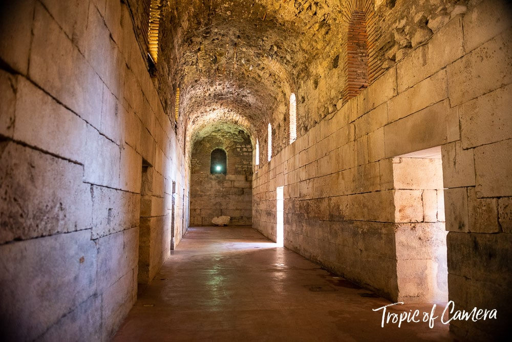 Ancient tunnels in Diocletian's Palace, Split, Croatia