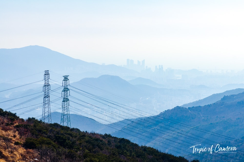 Hazy landscape looking towards Busan, South Korea, in mountains