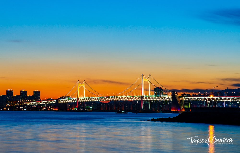 Gwangan Bridge at sunset, Busan, South Korea