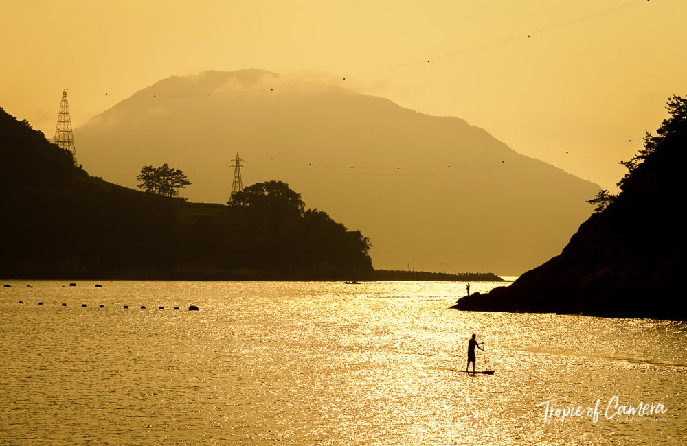 Paddle boarding in Namhae at sunset, South Korea