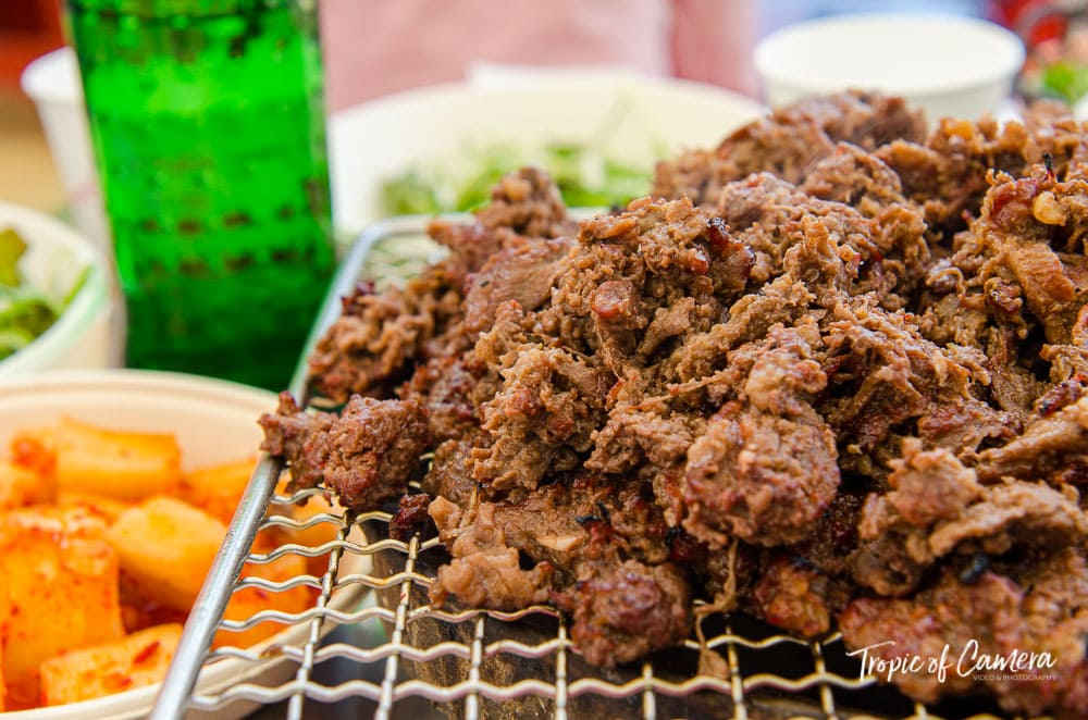 Bulgogi on grill in South Korea