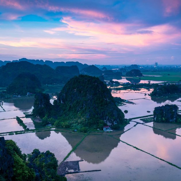 Ninh-Binh karst mountains at sunset