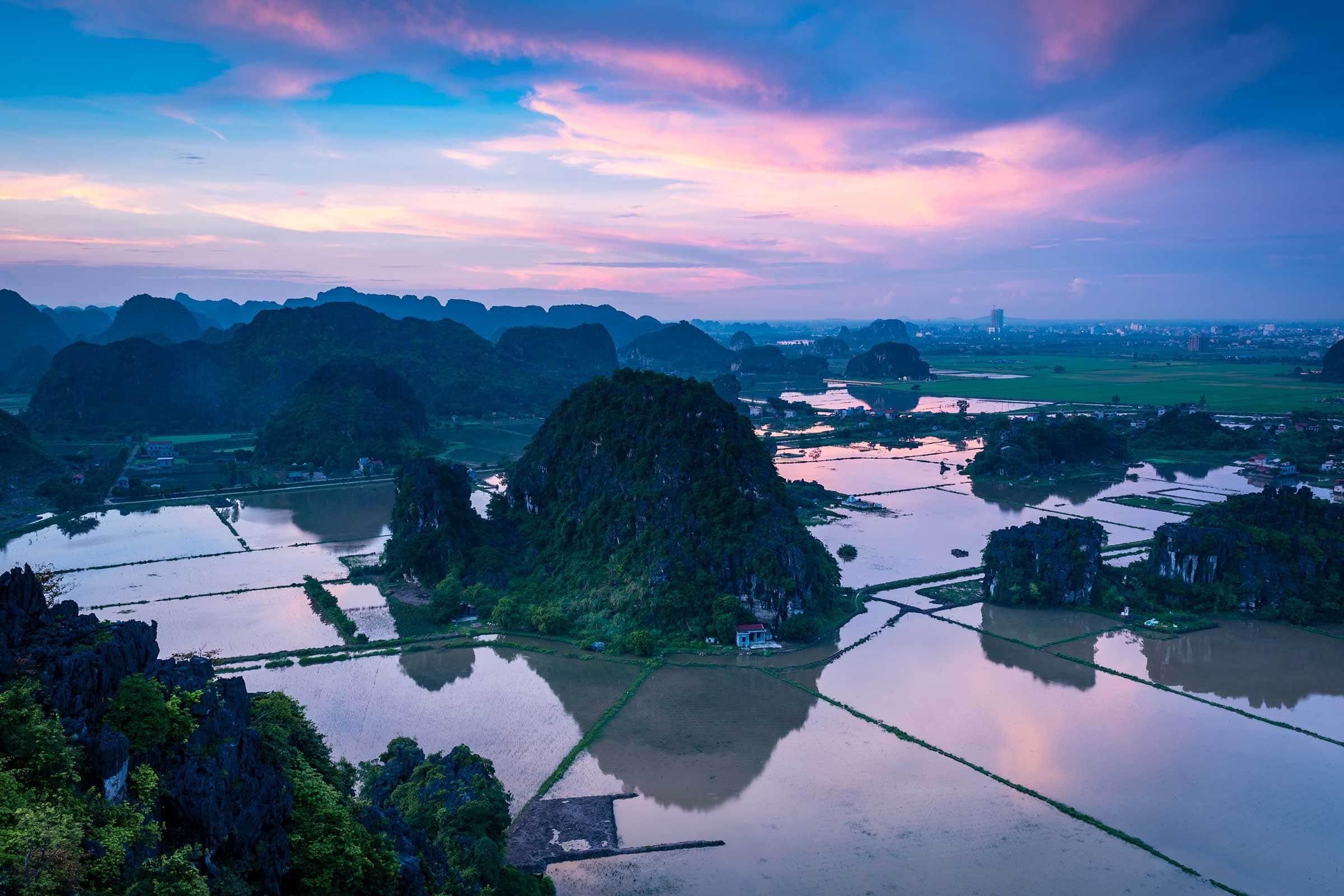 Ninh-Binh karst mountains at sunset