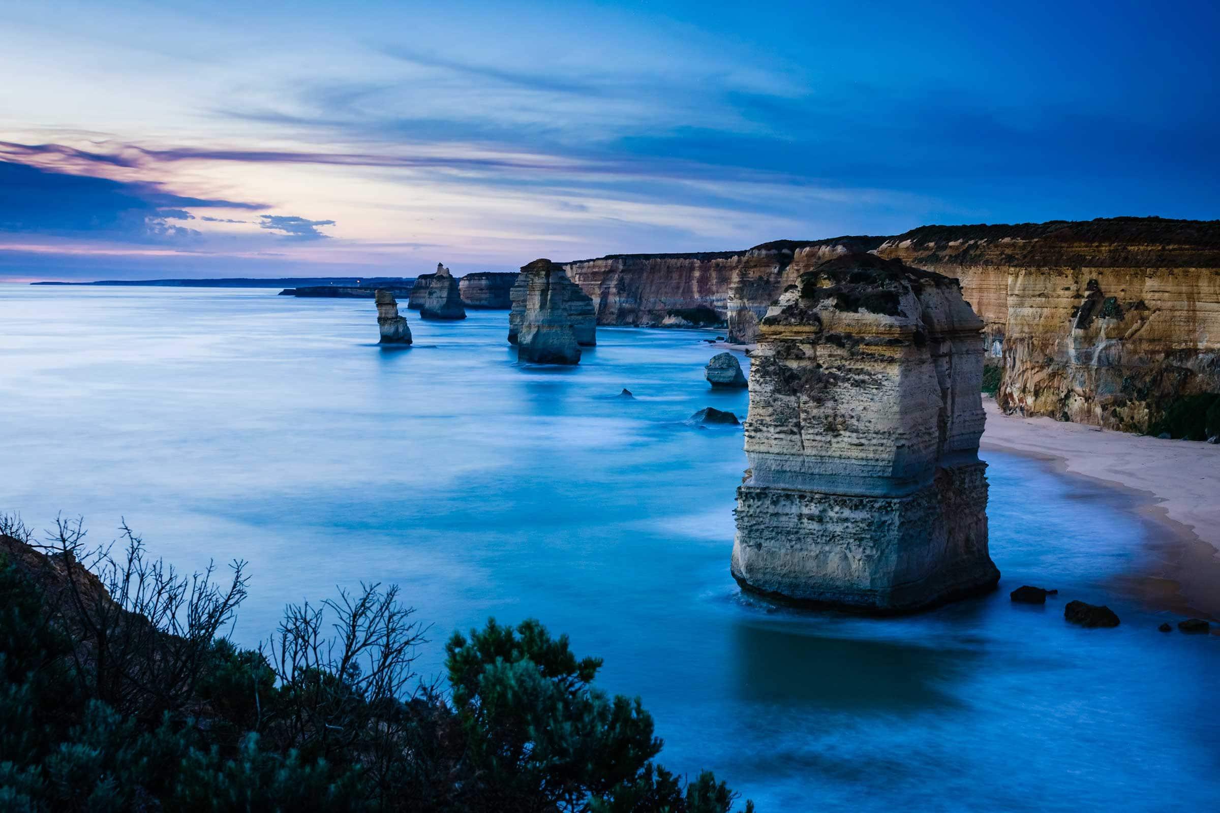 Twelve Apostles rock formation at sunset
