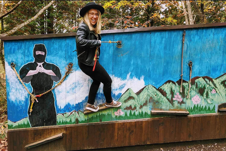 Kat Clay on ninja training course