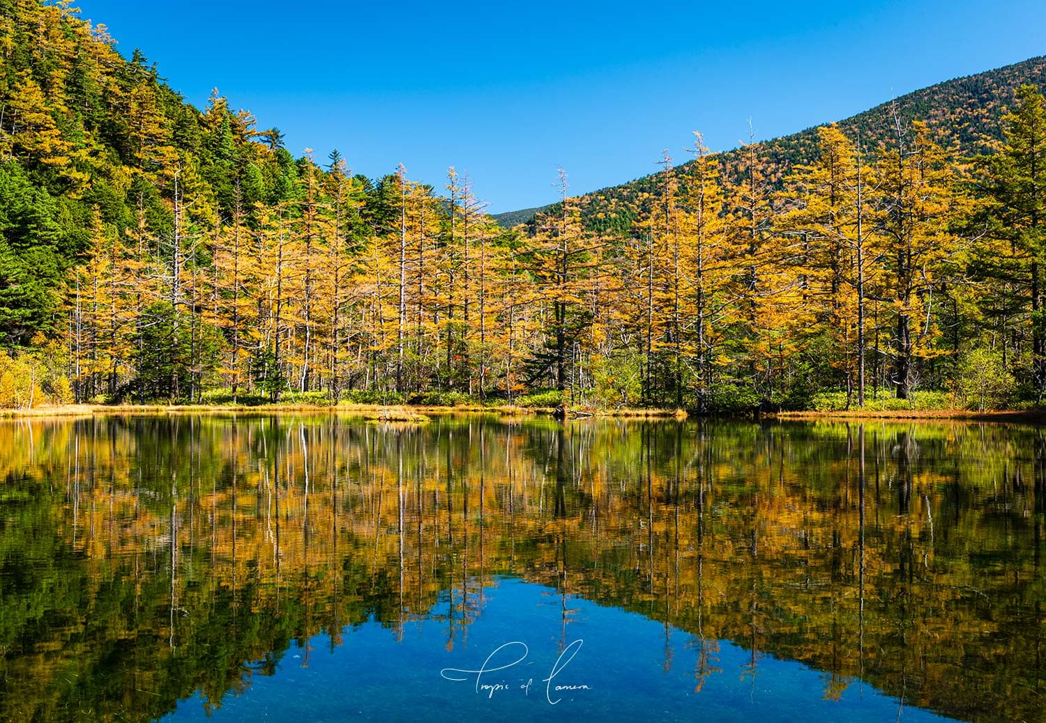Reflections on Myojin Pond in Kamikochi, Japan