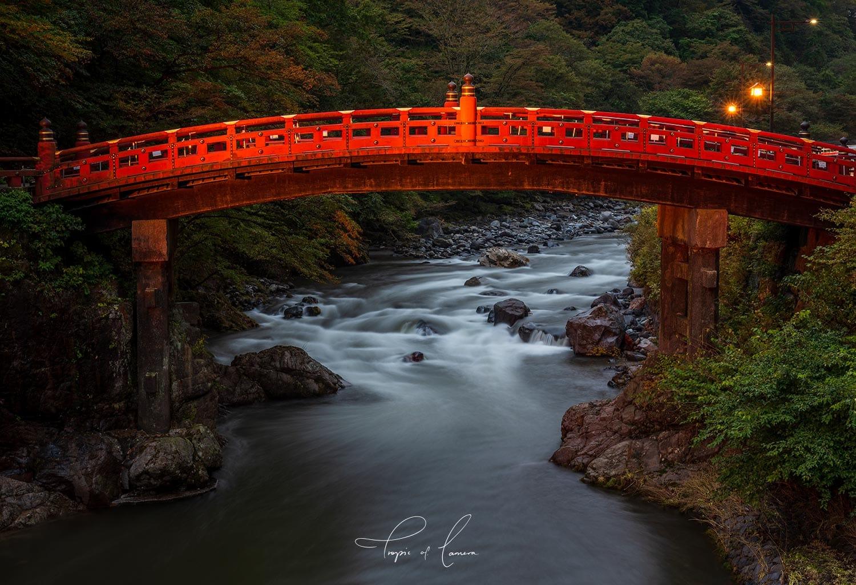 Historic red Shinkyo Bridge in Nikko, Japan