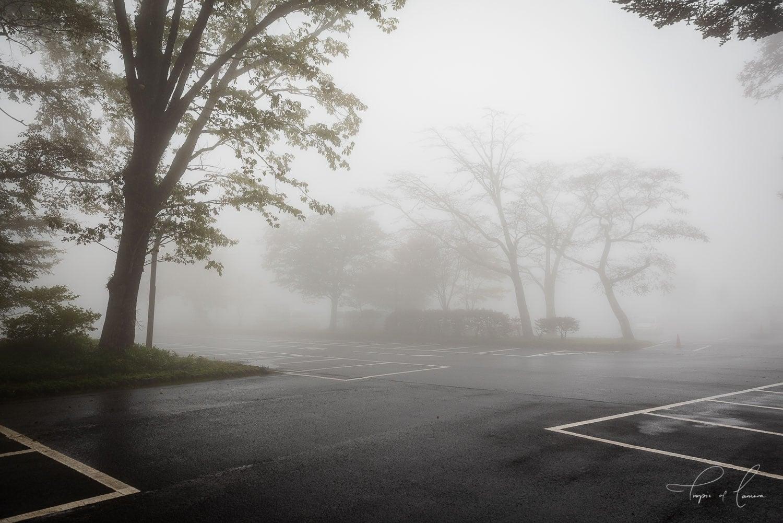 Carpark in fog in Nikko, Japan