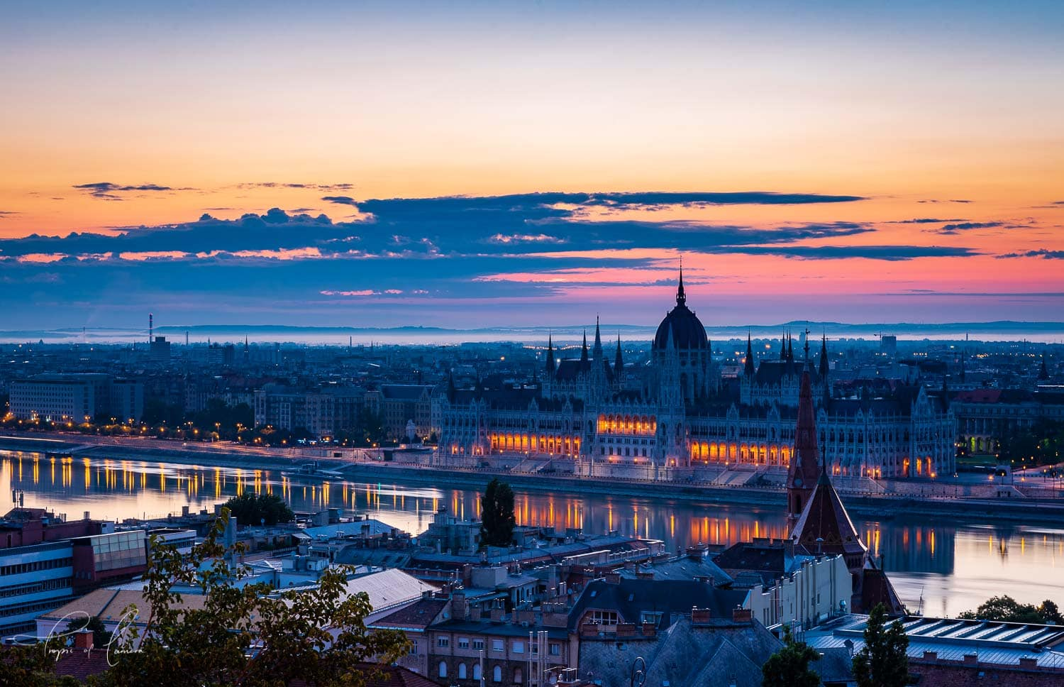 Sunrise over the Parliament building, Budapest, Hungary