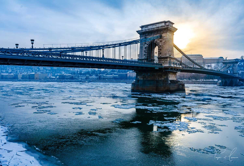 Budapest chain bridge at sunset in winter, Hungary