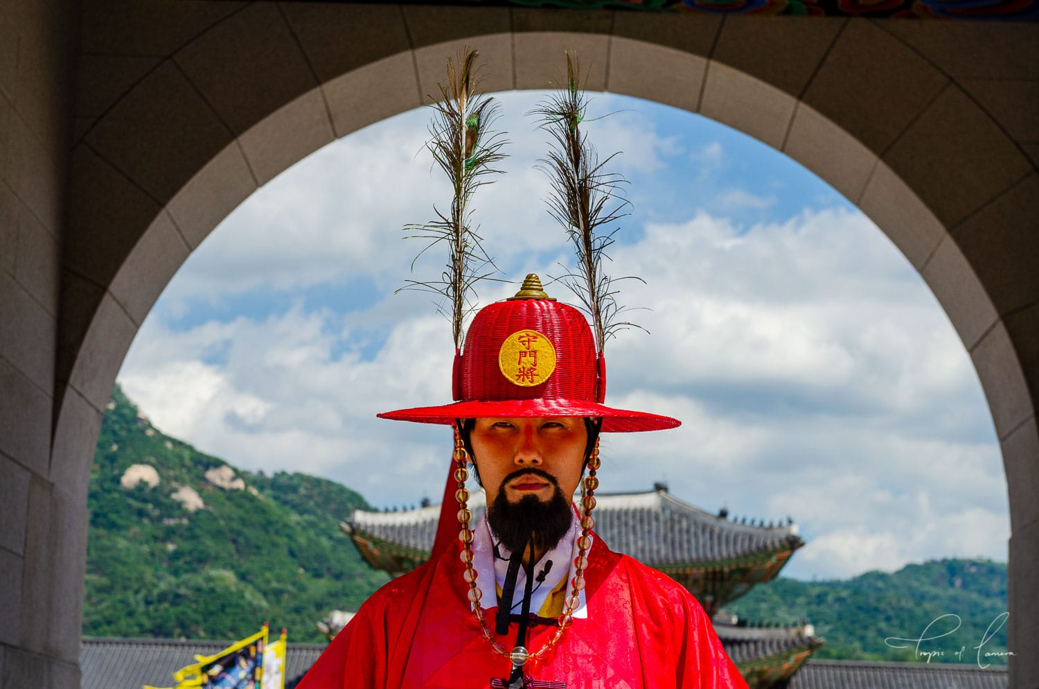 Guard in traditional costume at Gyeongbokgung Palace, South Korea