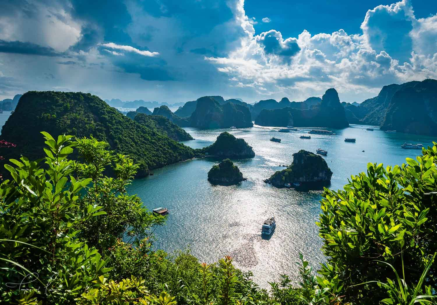 Karst formations of Ha Long Bay on a sunny day