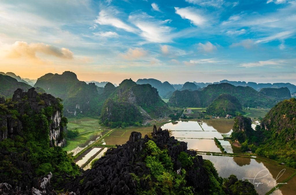 Sunset over karst formations in Ninh Binh, Vietnam